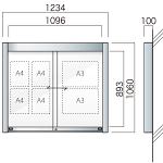 壁付アルミ掲示板  AGP-1210W(幅1234mm) 照明なし シルバーつや消し AGP-1210W(S)