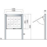 跳ね上げ式自立アルミ掲示板 AGS-1210(幅1294mm) 照明なし シルバーつや消し AGS-1210(S)